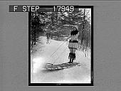 view [Model on toboggan outdoors on snow.] 1237 photonegative digital asset: [Model on toboggan outdoors on snow.] 1237 photonegative 1926.