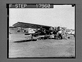 view [Crew working on early airplane outside.] 10063 photonegative digital asset: [Crew working on early airplane outside.] 10063 photonegative.