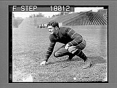 view Football player on field in empty stadium. 10083 photonegative digital asset: Football player on field in empty stadium. 10083 photonegative.