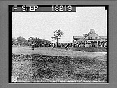 view Practice putting green and golf club house. [Active no. 9937 : non-stereo photonegtive.] digital asset: Practice putting green and golf club house. [Active no. 9937 : non-stereo photonegtive.]