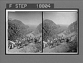 view Travelers on mountain road through the wild ravine Seljestad, N.W. to snowy Folgefond. 633 Interpositive digital asset: Travelers on mountain road through the wild ravine Seljestad, N.W. to snowy Folgefond. 633 Interpositive 1905.