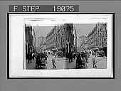 view Street scene, and old Tower, Copenhagen. Active no. 1001 : stereo interpositive digital asset: Street scene, and old Tower, Copenhagen. Active no. 1001 : stereo interpositive, 1896.
