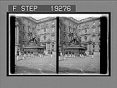 view Bronze statue of St. George and the dragon in first court, Imperial Palace, Berlin. [Active no. 1292 : stereo interpositive.] digital asset: Bronze statue of St. George and the dragon in first court, Imperial Palace, Berlin. [Active no. 1292 : stereo interpositive.]