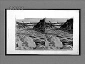 view Whirlpool Rapids in Winter--looking through the great gorge to the railroad bridge, Niagara Falls. 5418 interpositive digital asset: Whirlpool Rapids in Winter--looking through the great gorge to the railroad bridge, Niagara Falls. 5418 interpositive.