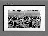 view Ocean and bathing beach from behind the life savers' observation stand. [Active no. 5504 : stereo interpositive,] digital asset: Ocean and bathing beach from behind the life savers' observation stand. [Active no. 5504 : stereo interpositive,] July 17, 1908.