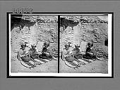 view Indian girls weaving baskets--village of Shipaulovi, Hopi Reservation, Arizona. 6184 Interpositive digital asset: Indian girls weaving baskets--village of Shipaulovi, Hopi Reservation, Arizona. 6184 Interpositive.