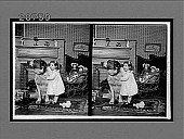 view [Child with large dog in home living room.] 6846 interpositive digital asset: [Child with large dog in home living room.] 6846 interpositive 1902.