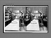 view [Man behind counter gesturing to woman in front of it. Active no. 7118 : Interpositive.] digital asset: [Man behind counter gesturing to woman in front of it. Active no. 7118 : Interpositive.]