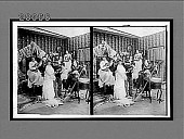 view [Five coeds in dormitory room; woman in bridal gown dances with stuffed dummy of a young man as others serenade. Active no. 7332, stereo interpositive.] digital asset: [Five coeds in dormitory room; woman in bridal gown dances with stuffed dummy of a young man as others serenade. Active no. 7332, stereo interpositive.]