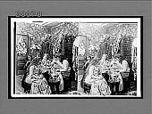 view [Five coeds in dormitory room seated around table toasting woman in bridal gown with tea and champagne. Active no. 7334 : stereo interpositive.] digital asset: [Five coeds in dormitory room seated around table toasting woman in bridal gown with tea and champagne. Active no. 7334 : stereo interpositive.]