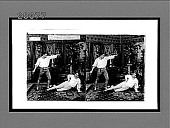 view [Fencers, one lying on floor of living room.] Active no. 7341 : stereo interpositive digital asset: [Fencers, one lying on floor of living room.] Active no. 7341 : stereo interpositive.