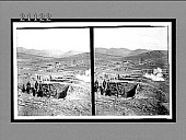 view Japanese batteries firing on the Russian forts--siege of Port Arthur. 7562 Interpositive digital asset: Japanese batteries firing on the Russian forts--siege of Port Arthur. 7562 Interpositive