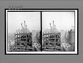 view Erecting the 23-story steel skeleton for the new Times Building from 42nd Street N., up Broadway, New York City. Active no. 8072 : Stereo interpositive digital asset: Erecting the 23-story steel skeleton for the new Times Building from 42nd Street N., up Broadway, New York City. Active no. 8072 : Stereo interpositive.