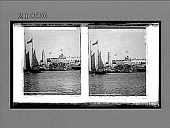 view [Small boat sailing past fortification.] 8440 interpositive digital asset: [Small boat sailing past fortification.] 8440 interpositive.