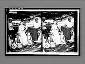 """view The star and two soubrettes of a popular theatrical company, at a """"Pwe,"""" Mandalay. [Active no. 9033 : stereo interpositive.] digital asset: The star and two soubrettes of a popular theatrical company, at a """"Pwe,"""" Mandalay. [Active no. 9033 : stereo interpositive.]"""