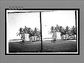 view Statue of Columbus on palm-shaded shore at Cristobal--N. across bay of Colon. [Active no. 9529 : stereo interpositive.] digital asset: Statue of Columbus on palm-shaded shore at Cristobal--N. across bay of Colon. [Active no. 9529 : stereo interpositive.]