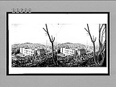 view [View of builidng with railing from wooded hill. Active no. 9754 : stereo interpositive digital asset: [View of builidng with railing from wooded hill. Active no. 9754 : stereo interpositive.