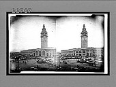 view [Busy plaza in front of clock towered building.] 9762 Interpositive digital asset: [Busy plaza in front of clock towered building.] 9762 Interpositive.