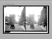 view [Early automobile on city street.] 9870 interpositive digital asset: [Early automobile on city street.] 9870 interpositive.