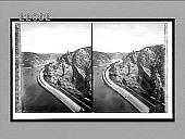 view [Railway beside river in rugged terrain.] Active no. 9983 : stereo interpositive digital asset: [Railway beside river in rugged terrain.] Active no. 9983 : stereo interpositive, 1908.