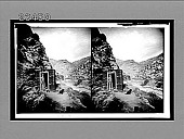 view Cabin of a gold-mine owner overlooking Clear Creek Canyon (E.N.E.). [Active no. 10613 : stereo interpositive,] digital asset: Cabin of a gold-mine owner overlooking Clear Creek Canyon (E.N.E.). [Active no. 10613 : stereo interpositive,] 1910.