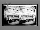 view Slashing machine which sizes the warp yarn in a modern woolen mill. 10795 Interpositive digital asset: Slashing machine which sizes the warp yarn in a modern woolen mill. 10795 Interpositive 1909.