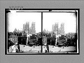 view West facade of famous York Minster and historic Bootham Bar, York. 11413 Interpositive digital asset: West facade of famous York Minster and historic Bootham Bar, York. 11413 Interpositive.
