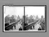 view Looking toward New York skyscrapers from parkway over Brooklyn Bridge. No. 11772 : stereoscopic interpositive digital asset: Looking toward New York skyscrapers from parkway over Brooklyn Bridge. No. 11772 : stereoscopic interpositive.