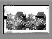 view [Men constructing small wooden bridge over stream.] 12168 interpositive digital asset: [Men constructing small wooden bridge over stream.] 12168 interpositive.