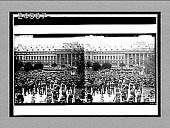 view [U.S. soldiers surround band playing on raised platform in front of huge city building. Active no. 14390 : stereo interpositive.] digital asset: [U.S. soldiers surround band playing on raised platform in front of huge city building. Active no. 14390 : stereo interpositive.]