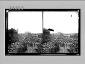 view [Long line of troops in victory parade down street lined with crowds in London. Active no. 14565 : stereo interpositive.] digital asset: [Long line of troops in victory parade down street lined with crowds in London. Active no. 14565 : stereo interpositive.]