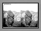 view [Huge Yosemite rocks in foreground; falls in background.] 14577 Interpositive digital asset: [Huge Yosemite rocks in foreground; falls in background.] 14577 Interpositive.
