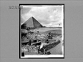 view Ruins of the granite temple by the Sphinx, with the Great Pyramid of Gizeh at the N.W. [Active no. 2543 : interpositive,] digital asset: Ruins of the granite temple by the Sphinx, with the Great Pyramid of Gizeh at the N.W. [Active no. 2543 : interpositive,] 1907.
