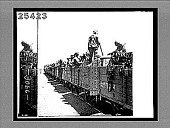 view [Soldiers in open train cars.] 3066 interpositive digital asset: [Soldiers in open train cars.] 3066 interpositive.