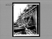"""view Coaling the Pacific Mail, S.S. """"Siberia"""" at the fortified naval station or Nagasaki. 3939 Interpositive digital asset: Coaling the Pacific Mail, S.S. """"Siberia"""" at the fortified naval station or Nagasaki. 3939 Interpositive."""