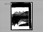 """view The """"Three Sisters,"""" from the Bow River Valley, Canmore, Alberta. 4818 interpositive digital asset: The """"Three Sisters,"""" from the Bow River Valley, Canmore, Alberta. 4818 interpositive."""