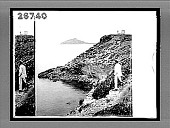 view Sunion's rocky steep, the outpost of Mainland Greece (W.N.W.), with temple of protecting Poseidon. 9302 Interpositive digital asset: Sunion's rocky steep, the outpost of Mainland Greece (W.N.W.), with temple of protecting Poseidon. 9302 Interpositive 1905.