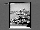 view Cologne's Cathedral, Town Hall and bridge of boats, N.W. across Rhine, Germany. 10463 interpositive digital asset: Cologne's Cathedral, Town Hall and bridge of boats, N.W. across Rhine, Germany. 10463 interpositive.