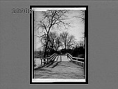 """view North Bridge and statue of the """"Minute Man"""" on old battleground, Concord. Active no. 10704 : interpositive digital asset: North Bridge and statue of the """"Minute Man"""" on old battleground, Concord. Active no. 10704 : interpositive, 1910."""