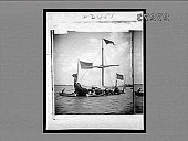 view [U.S. and British flags on dragon sailing ship in harbor.] 23451 interpositive digital asset: [U.S. and British flags on dragon sailing ship in harbor.] 23451 interpositive.