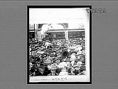 view [Crowd at political rally at rear of train.] 23466 interpositive digital asset: [Crowd at political rally at rear of train.] 23466 interpositive 1903.