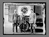 """view [Truck with """"Bond Bread"""" sign, and three men in suits standing beside it. Active no. 1772 : photonegative.] digital asset: [Truck with """"Bond Bread"""" sign, and three men in suits standing beside it. Active no. 1772 : photonegative.]"""