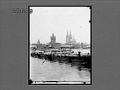 view The Cathedral and Pontoon Bridge crossing the Rhine, Cologne, Germany. [Active no. 20085 : half-stereo photonegative,] digital asset: The Cathedral and Pontoon Bridge crossing the Rhine, Cologne, Germany. [Active no. 20085 : half-stereo photonegative,] 1894.