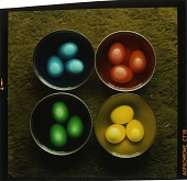 view [Bowls of brightly dyed Easter eggs : chromogenic color phototransparency.] digital asset: [Bowls of brightly dyed Easter eggs : chromogenic color phototransparency.]