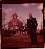 view [Carl Carmer outside his octagonal home with dome and cupola in Irvington, New York: color slide (chromogenic phototransparency)] digital asset: [Carl Carmer outside his octagonal home with dome and cupola in Irvington, New York: color slide (chromogenic phototransparency)].