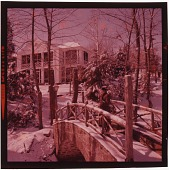 view [Woman on bridge at Glen Hill, Sultner-Welles home in Dover, Pennsylvania: color slide (chromogenic phototransparency)] digital asset: [Woman on bridge at Glen Hill, Sultner-Welles home in Dover, Pennsylvania: color slide (chromogenic phototransparency)].