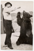 view [Chained bear sitting up for a treat from his male Ludar Gypsy trainer, b&w photoprint.] digital asset: [Chained bear sitting up for a treat from his male Ludar Gypsy trainer, b&w photoprint.]