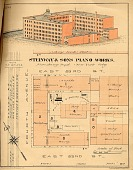 view Steinway & Sons Piano Works finishing dept. [fire insurance map] digital asset: Steinway & Sons Piano Works finishing dept. [fire insurance map].