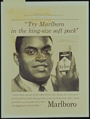 view Try Marlboro in the king-size soft pack [35mm slide of b & w proof sheet] digital asset: Try Marlboro in the king-size soft pack [35mm slide of b & w proof sheet].