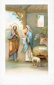 view Madonna and child in a stable with a shepherd. [picture postcard] digital asset: Madonna and child in a stable with a shepherd. [picture postcard].